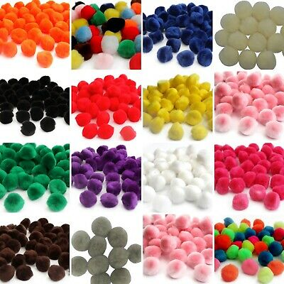 25mm Pom Poms - 2.5cm Fluffy Art Craft Card Making- Many Colours Choose Quantity