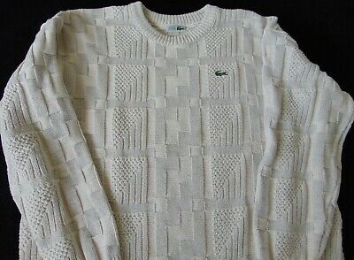 Lacoste Vintage Made In France Oatmeal Cotton Knitted Preppy Jumper, Vgc Xxl