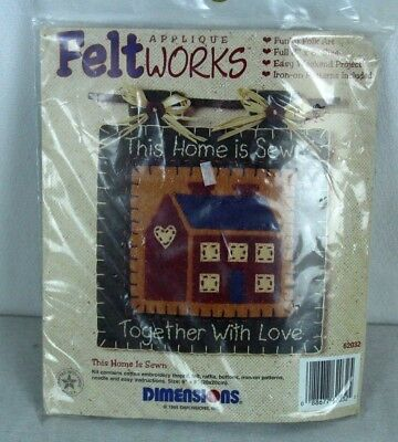 "Felt Works Applique This Home is Sewn Together With Love 8 x 8"" Folk Art 62032"