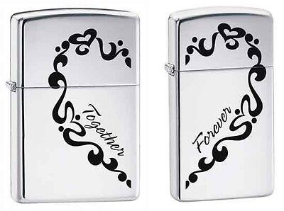 Zippo 0465, Together Forever, 2 Piece Lighter Set, High Polish Chrome