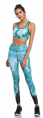 394| Ensemble Legging + Top Fitness Pantalon Femme Workout Yoga Pant Crossfit