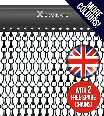 Aluminium Door Screen Metal Fly Curtain Chain Matt Black Commercial Xterminate