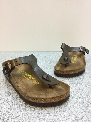 051b91b8f312 Birkenstock Gizeh BS Golden Brown Birko-Flor Buckle Sandals Women s Size 37
