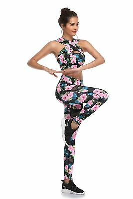 399| Ensemble Legging + Top Fitness Pantalon Femme Workout Yoga Pant Crossfit