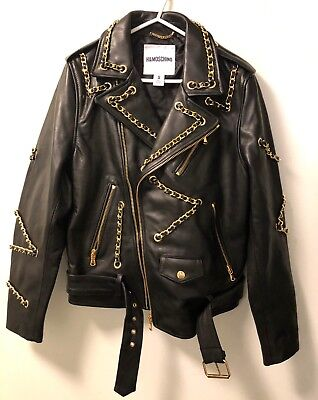 17f2c7244 H&M MOSCHINO Leather Biker Jacket size S Men / Large for Women - RARE - IN