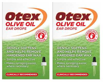2 x Otex Olive Oil Ear Wax Remover Ear Drops / 10ml **FREE UK Delivery