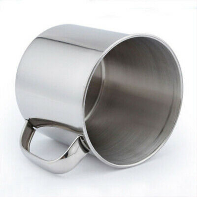 1Pcs Portable Silver 320ML Stainless Steel Coffee Tea Mug Cup For Camping Travel