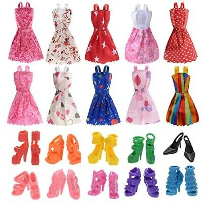 10 Pack Barbie Doll Clothes Outfits Party Gown with 10 Pairs Doll Shoes for Girl