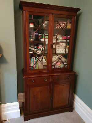 Antique Mahogany Astral Glazed Display Cabinet / Dresser / Cupboard