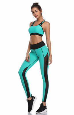 409| Ensemble Legging + Top Fitness Pantalon Femme Workout Yoga Pant Crossfit
