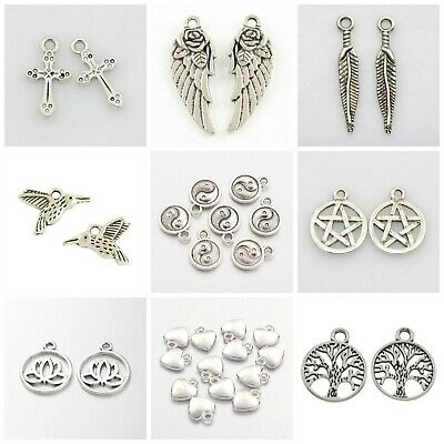 Antique silver Tibetan charms pendants jewellery card making crafts