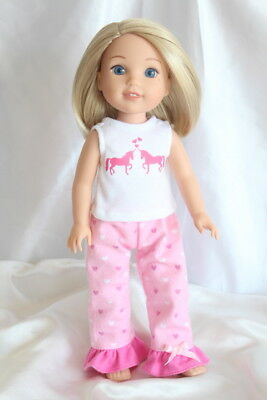 Doll Clothes fits 14inch American Girl Wellie Wishers Dress Pajamas Unicorn
