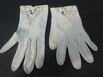 * Designer Ladies Cream Leather With Cutouts Gloves Unlined Size 6.5