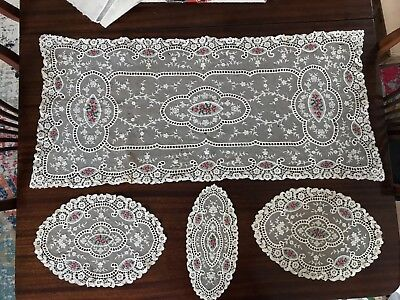Antique Late 19th 4 piece Belgium Lace and Hand Embroidered CLinens