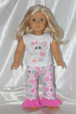 Doll Clothes fits 18inch American Girl Dress Outfit Pajamas Hearts