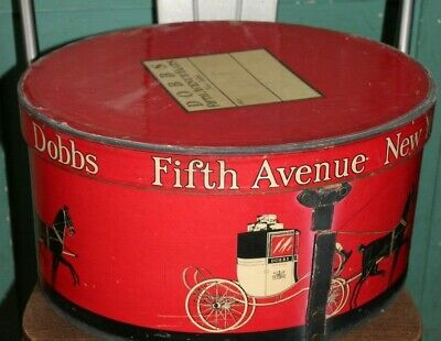 vintage hat box new york  nyc red dobbs mens fedora box display store antique