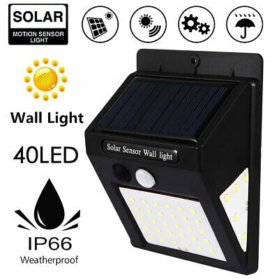 40 LED Solar Powered PIR Motion Sensor Wall Security Light Garden Outdoor Lamp