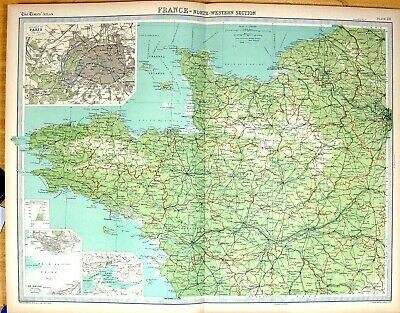 Old Times Map 1922 North-West France Plan Paris Brest Le Havre Tours 20th