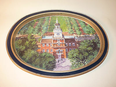 VINTAGE Limited Edition INDEPENDENCE HALL Oval  Metal Tray GUILDCRAFT AMERICANA