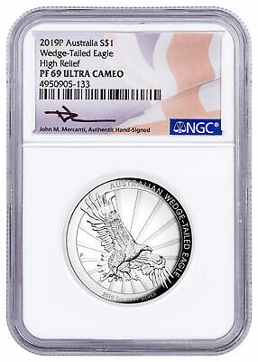 2019 P Australia 1 oz Silver HR Wedge-Tailed Eagle NGC PF69 UC Mercanti SKU57172