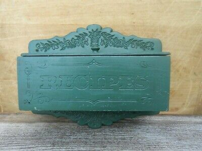 Vintage Wooden Recipe Box Wall Hanging Recipe Box Green Paint & Carved Designs
