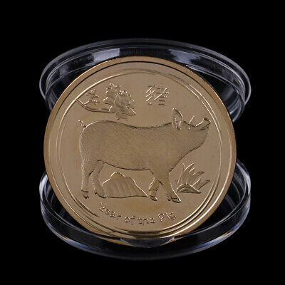 Gold Plated Pig Commemorative Coin Chinese Zodiac Collection Coin Lucky Gifts ME