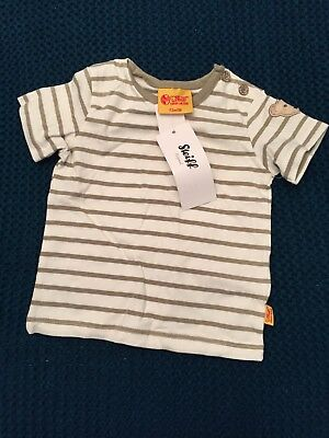 Steiff Baby Bear T-Shirt Stripes Khaki Green And Cream Size 3 Months BNWT €24.95