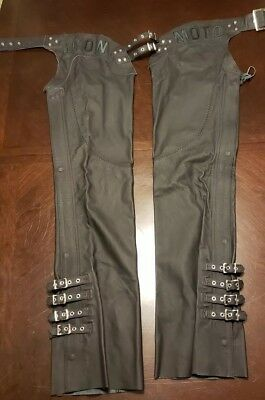 Womens Icon Moto Bombshell Chaps Black Leather Large