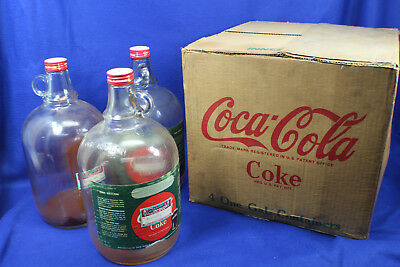 Vintage Coke Coca-Cola 1960's Glass 1 Gallon Syrup Bottles (3) w/Original Box
