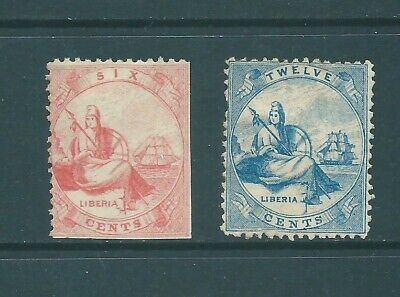 LIBERIA 1860 first issued stamps: Mint No Gum