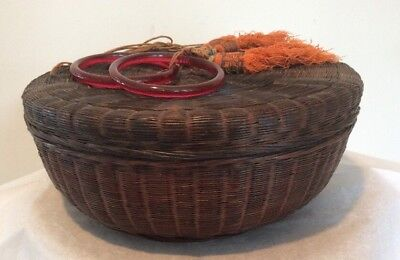 "Antique Chinese Woven Sewing Basket Red Glass Ring Handles Beads Tassels 11.75""W"
