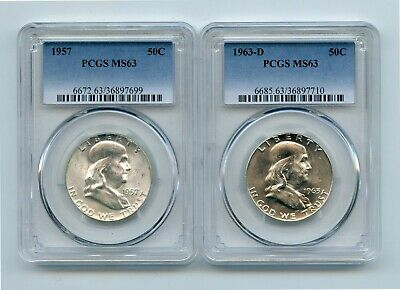 1957/1963-D Silver Franklin Half Dollars (MS63) PCGS Two Coins