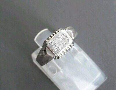 Charming Vintage Solid 830 Silver Ring Engraved With Initials T.O - Size J 1/2