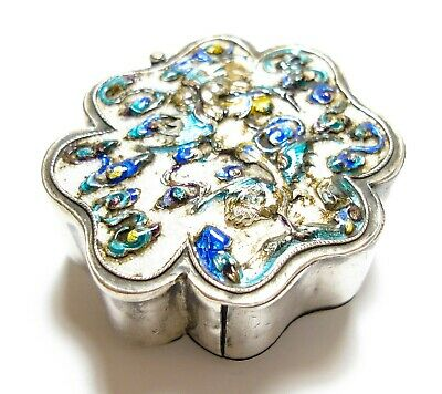 Beautiful Antique Chinese Silver & Enamel Trinket Box (C7)
