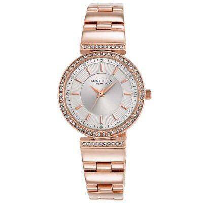 Anne Klein 12/2258SVRG Crystal Accented Rose-Gold-Tone Women's Watch