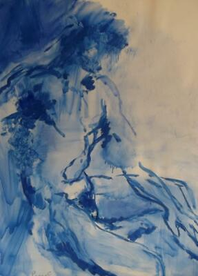 JACQUELINE LEONOFF 1933- 2011 FRENCH MODERNIST Male Nude in Blue Oil Painting