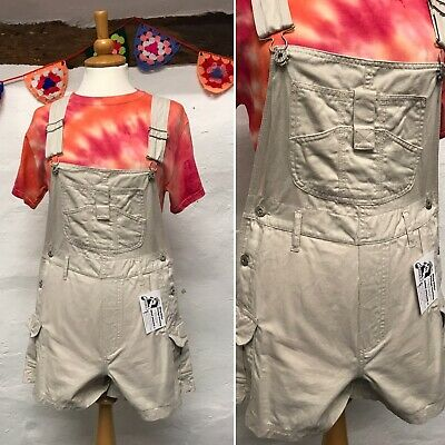 VINTAGE WOMENS SHORT DUNGAREES SIZE 10 OVERALLS STONE BEIGE GOOD FELLOWS (d11