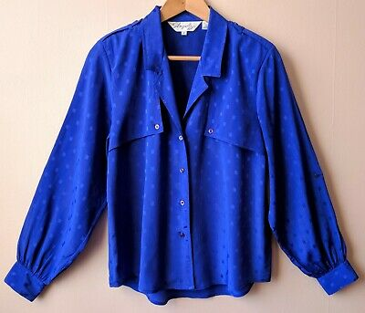 80s vintage loose fitting blue blouse 12 14 business power dressing secretarial