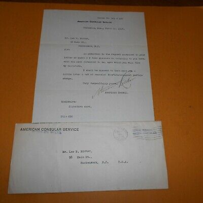 Marion Letcher as Consul to Mexico Hand Signed 1914 Letter 8 x 10.25 w/Envelope