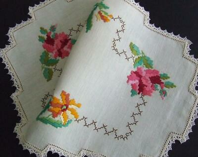Hand Embroidered Centre -Variegated Pink Orange Stylised Florals - Lace Edging