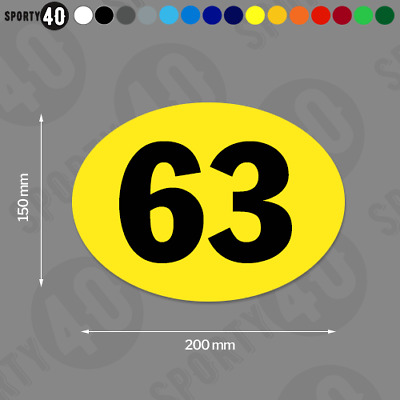 Oval Race Number - 200x150mm - 2 x Vinyl Decals / Stickers - 4103-0119