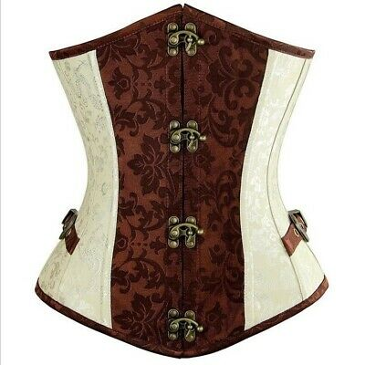 Gothic Retro Punk White Brown Steampunk Corset Waist Training Underbust Bustier