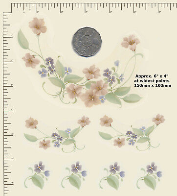 7 x Waterslide ceramic decals Decoupage Peach and violet florals Flowers A20