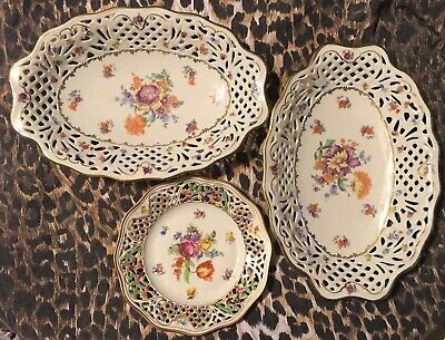 3 Antique SCHUMANN BAVARIA Serving Dishes, Reticulated Floral