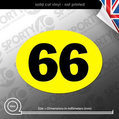 Oval Race Number - 260x220mm - 2 x Vinyl Decals / Stickers - 4103-0119