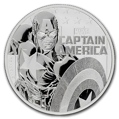 "2019 Tuvalu 1 oz Silver $1 Marvel Series ""Captain America"" BU - SKU#186735"