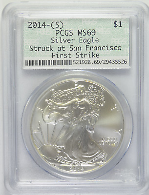 2014-(S) Silver Eagle PCGS MS-69 Struck at San Francisco First Strike (3/5)