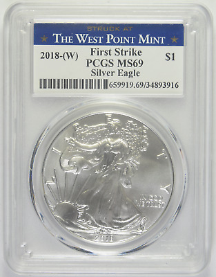 2018-W Silver American Eagle PCGS MS-69 Struck at West Point First Strike (1/2)