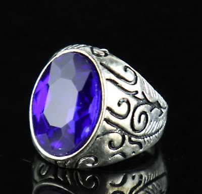 Old Tibet Silver Carve Special Characters Inlay Blue Crystal Delicate Noble Ring