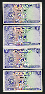 Ceylon P-56b. 1958 One Rupee.. CONSECUTIVE Run of 4 Notes.. UNC